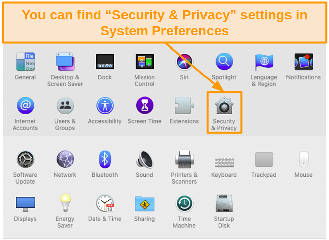 Screenshot of Security and Privacy icon in System Preferences on Mac
