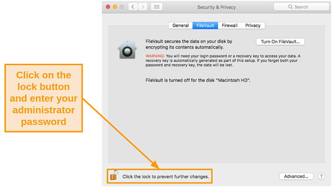 Screenshot of allowing changes in Mac settings by clicking the lock button