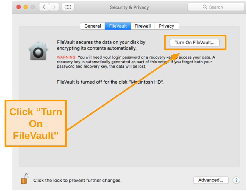 Screenshot of turning on FileVault on Mac
