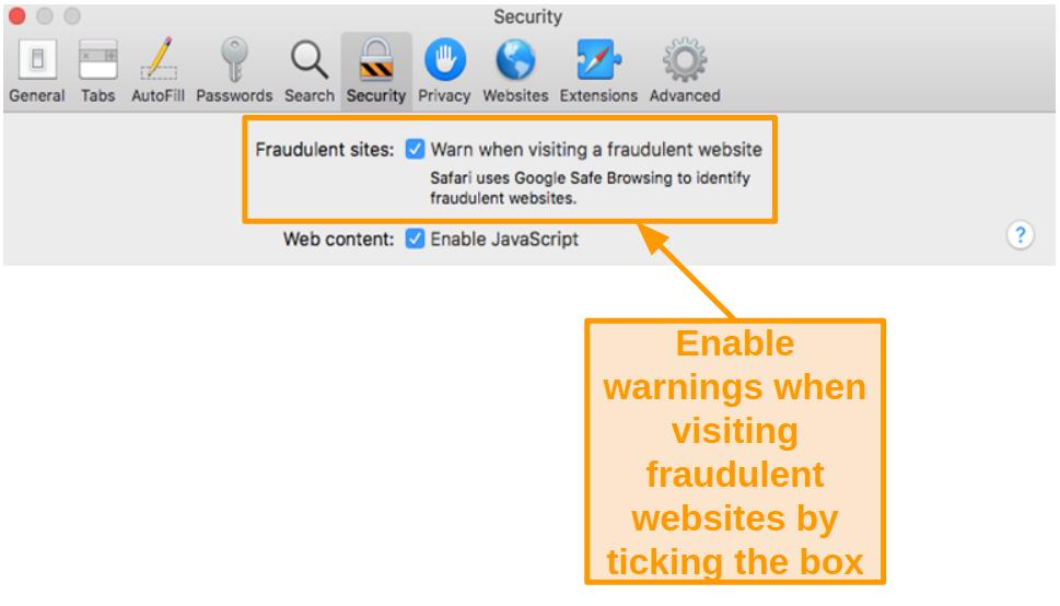 Screenshot of enabling warning when visiting a fraudulent website in Safari