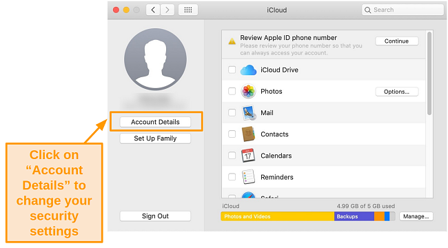 Screenshot of the iCloud tab on the Mojave operating system.