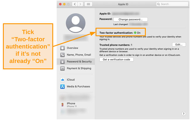 Screenshot of security information and settings under Apple ID on the Catalina operating system.