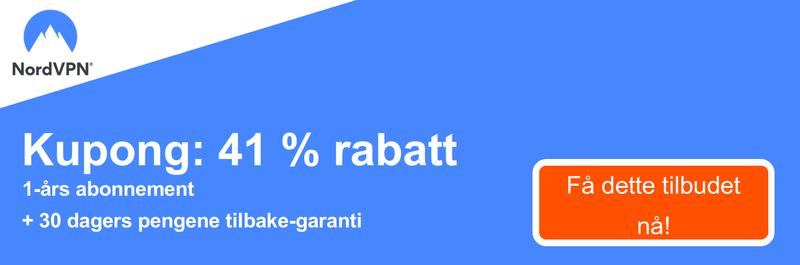 Grafikk av en fungerende NordVPN kupong tilbyr en 41% rabatt for et 1-års abonnement og en 30 dagers pengene-tilbake-garanti