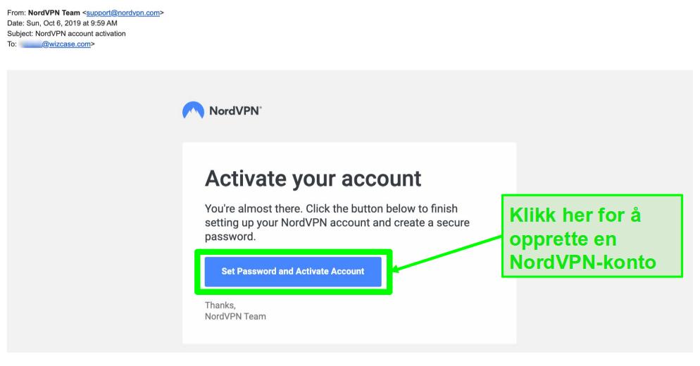 Skjermbilde av e-post om aktivering av NordVPN-konto