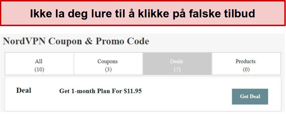 Et nettsted som viser en falsk rabattavtale for NordVPN