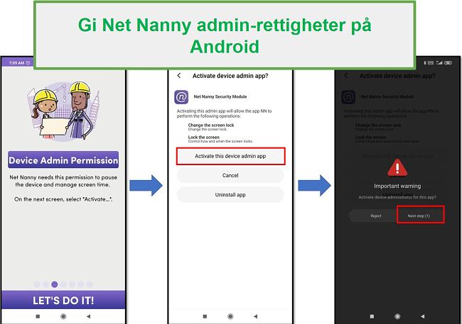 Net Nanny admin rettigheter