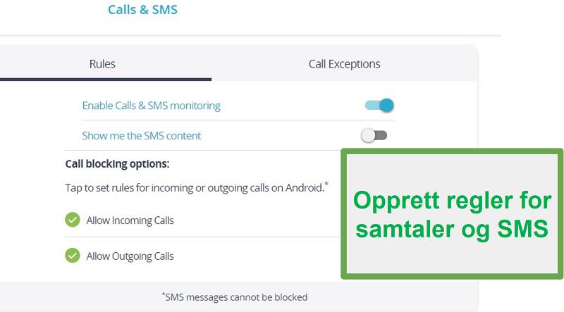 Qustodio-samtaler og SMS-overvåking