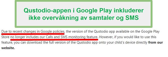 Qustodio Google Play-retningslinjer