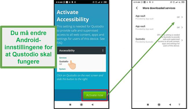 Qustodio Android-innstillinger