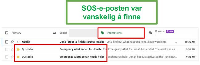 Qustodio SOS-e-post