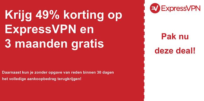 afbeelding van ExpressVPN hoofdcouponbanner met 49% korting
