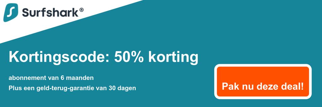 Afbeelding van de couponbanner van Surfshark met 50% korting