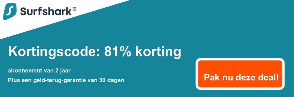 Afbeelding van de couponbanner van Surfshark met 81% korting op $ 2,49 / maand voor een 2-jarig abonnement