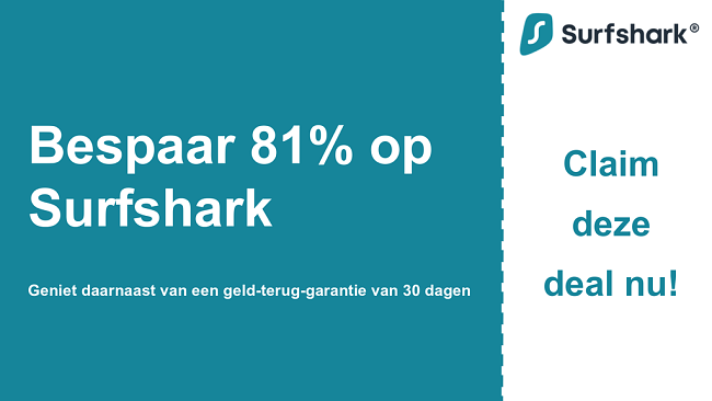 Afbeelding van de hoofdcouponbanner van Surfshark VPN met $ 2,49 per maand