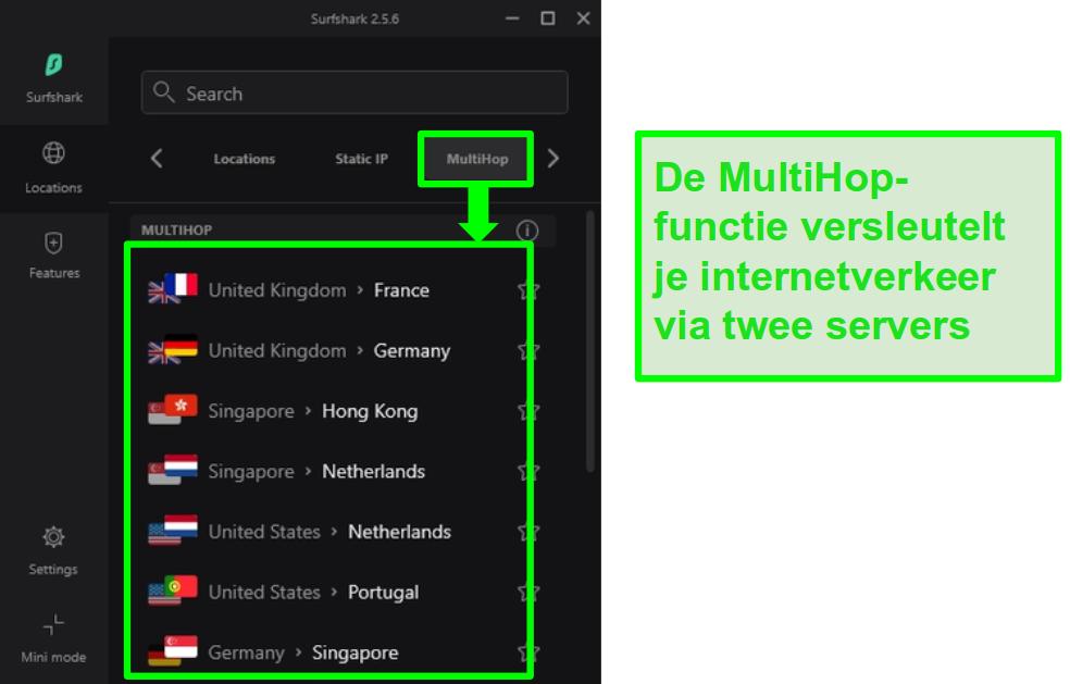 Screenshot van het serveroverzicht van Surfshark met hun MultiHop-servers