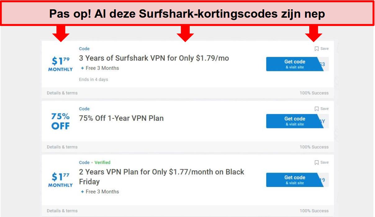 Screenshot van valse Surfshark-kortingsbonnen