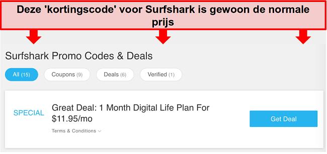 Screenshot van valse Surfshark-promotiecodes en -deals