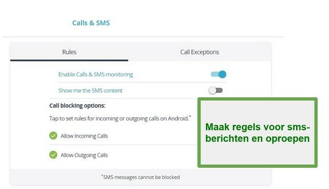 Qustodio Oproepen en sms-monitoring