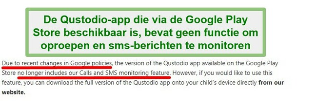 Qustodio Google Play-beleid