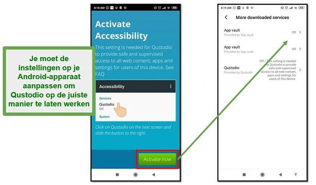 Qustodio Android-instellingen