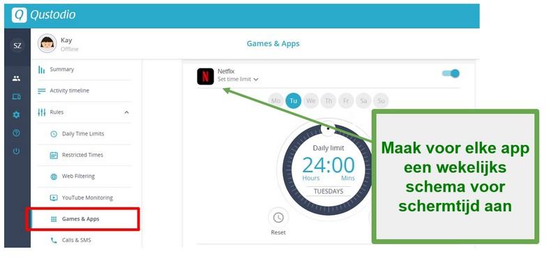 Qustodio heeft limieten gesteld aan apps