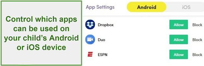 Net Nanny Manage apps