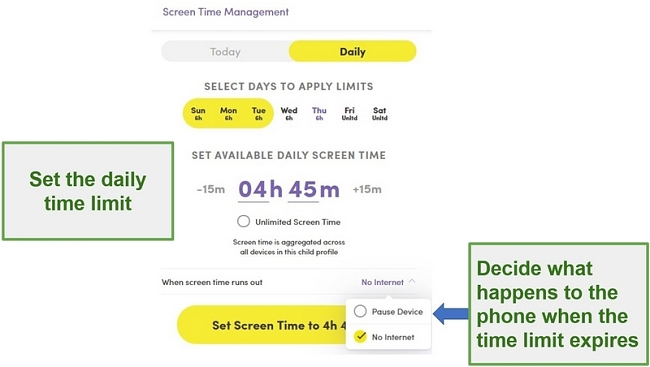 Screenshot showing how to set a daily time limit with Net Nanny Screen Management settings