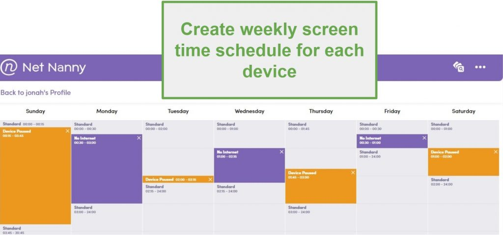 Net Nanny Screen Time schedule