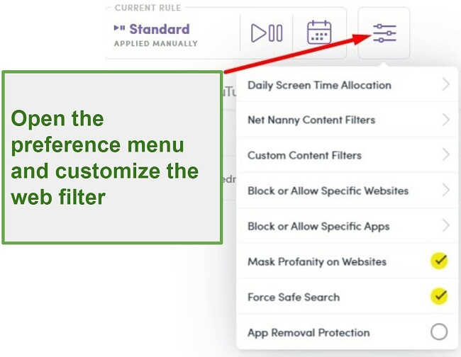 Screenshot of Net Nanny parental control apps interface showing instructions on how to customize web filter