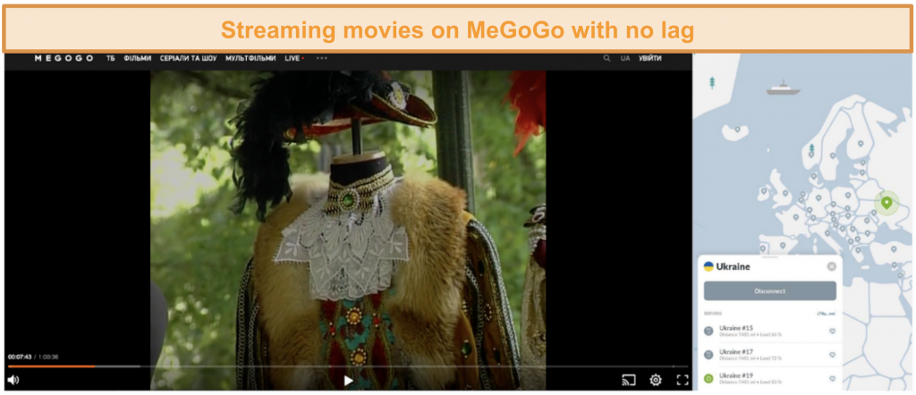 Screenshot of movie on inter streaming with no lag while connected to NordVPN