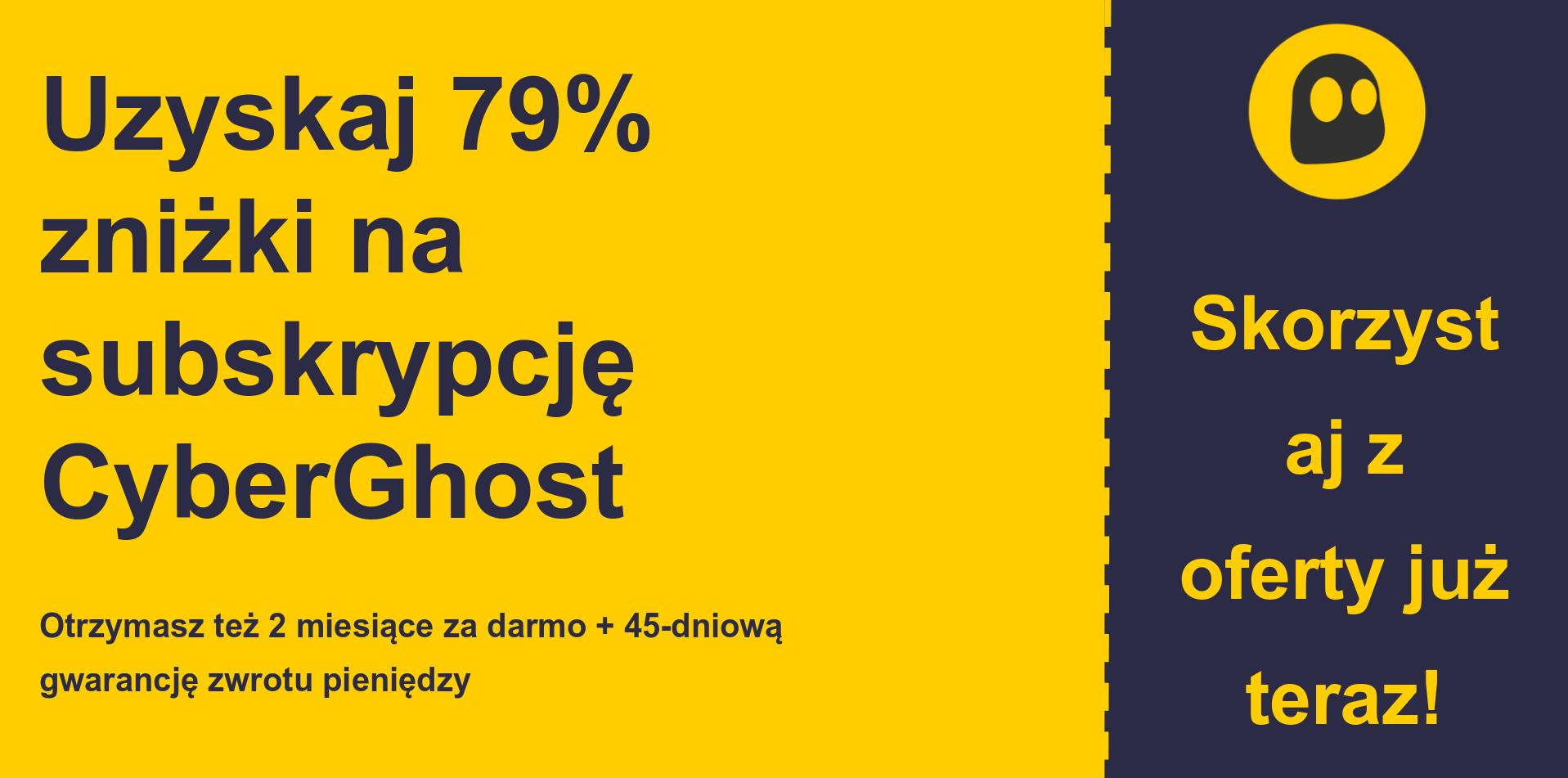 grafika banera głównego kuponu CyberGhostVPN przedstawiająca 79% zniżki