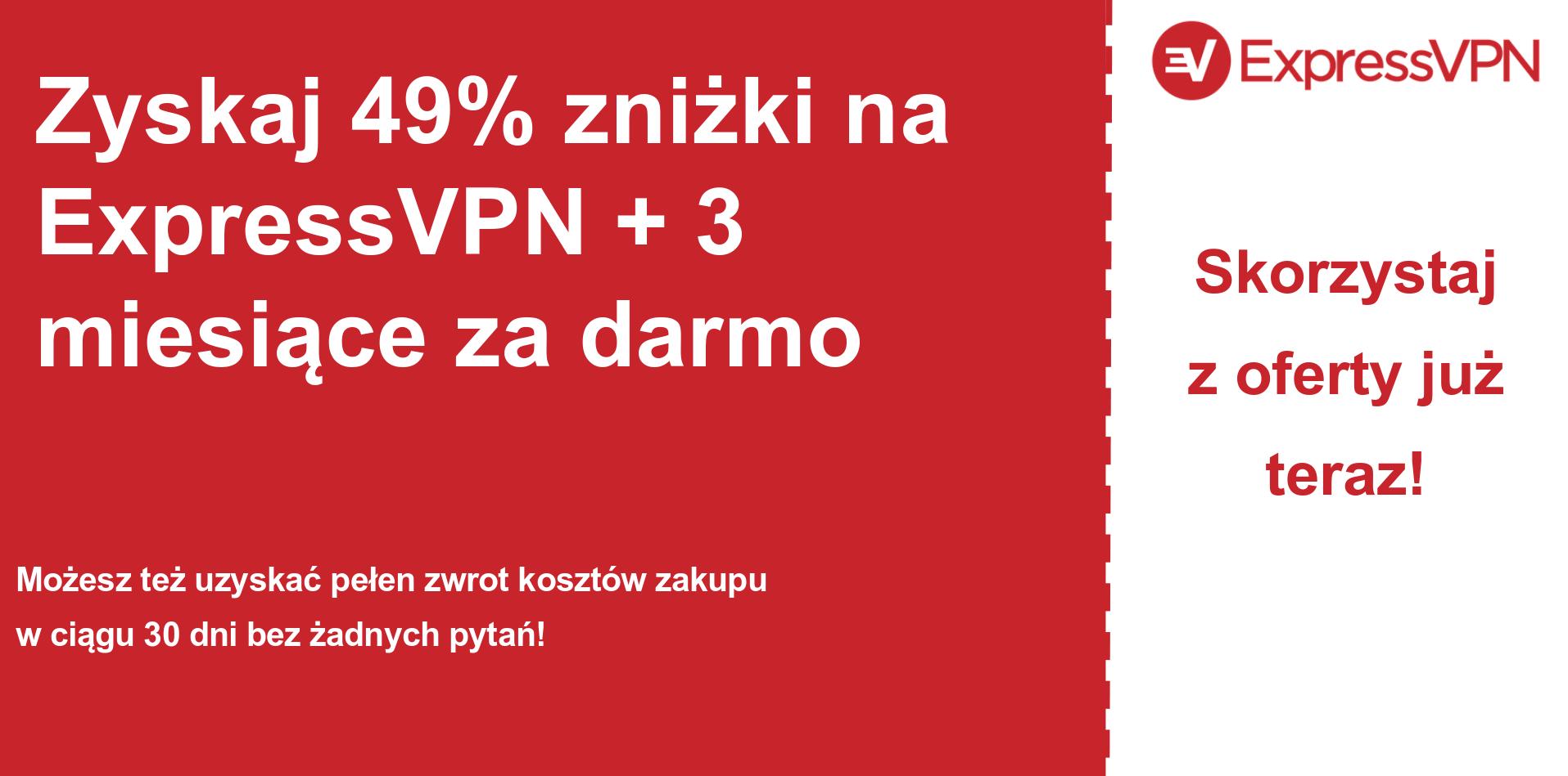 grafika banera głównego kuponu ExpressVPN pokazująca 49% zniżki