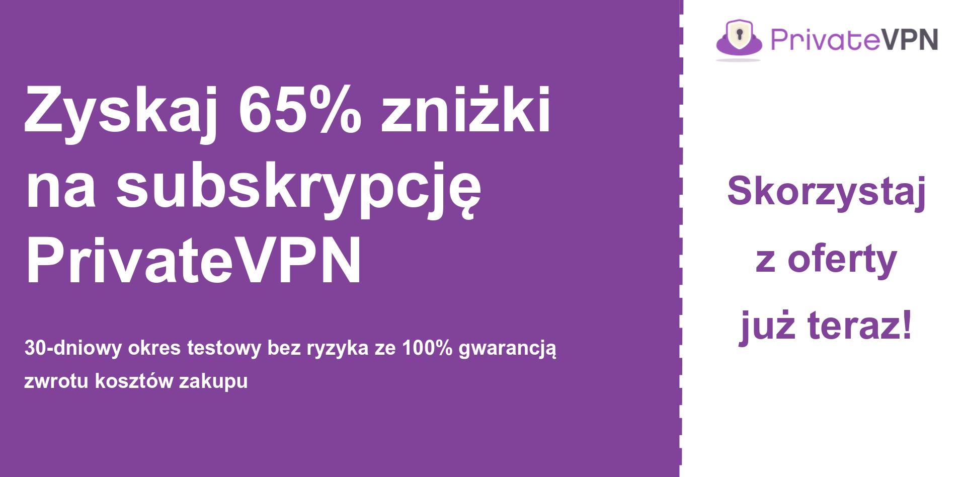grafika banera głównego kuponu PrivateVPN pokazującego 65% zniżki