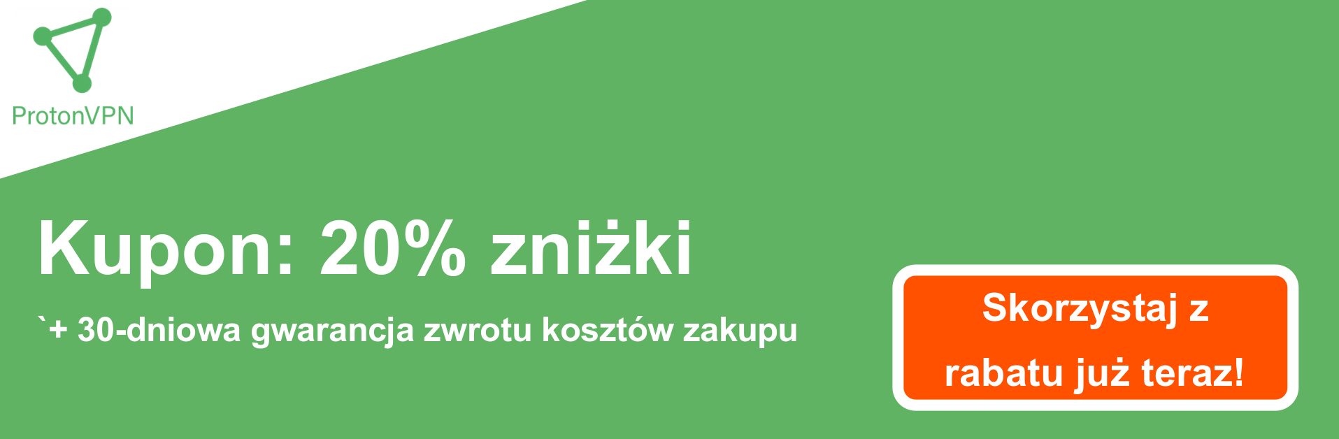 Baner kuponu ProtonVPN - 20% zniżki