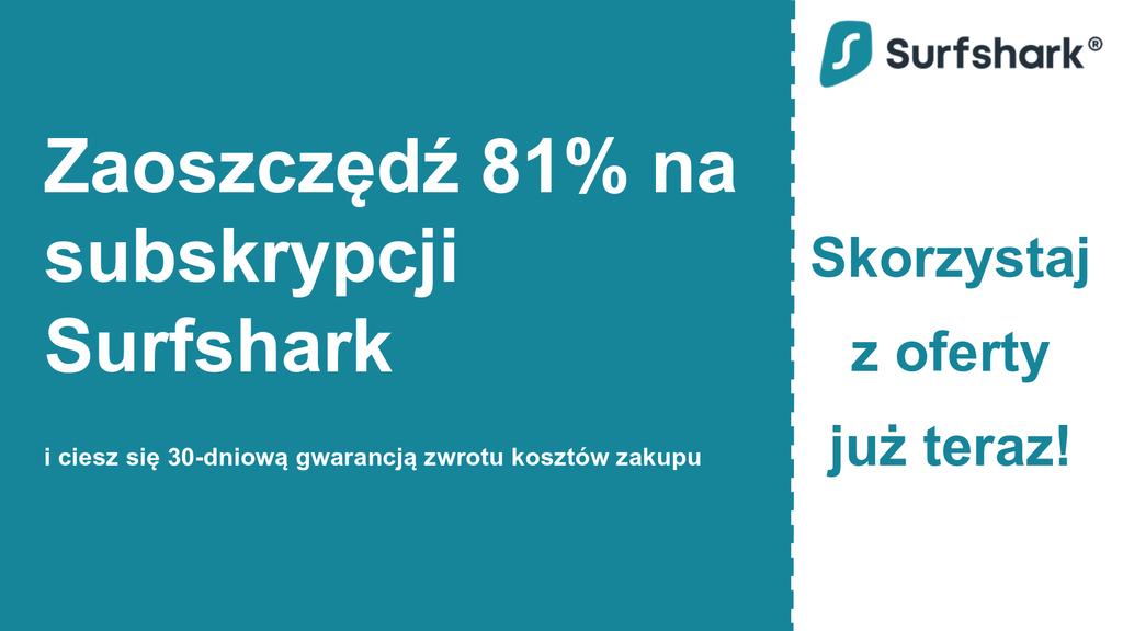 Grafika głównego banera z kuponem Surfshark VPN przedstawiająca 2,49 USD miesięcznie