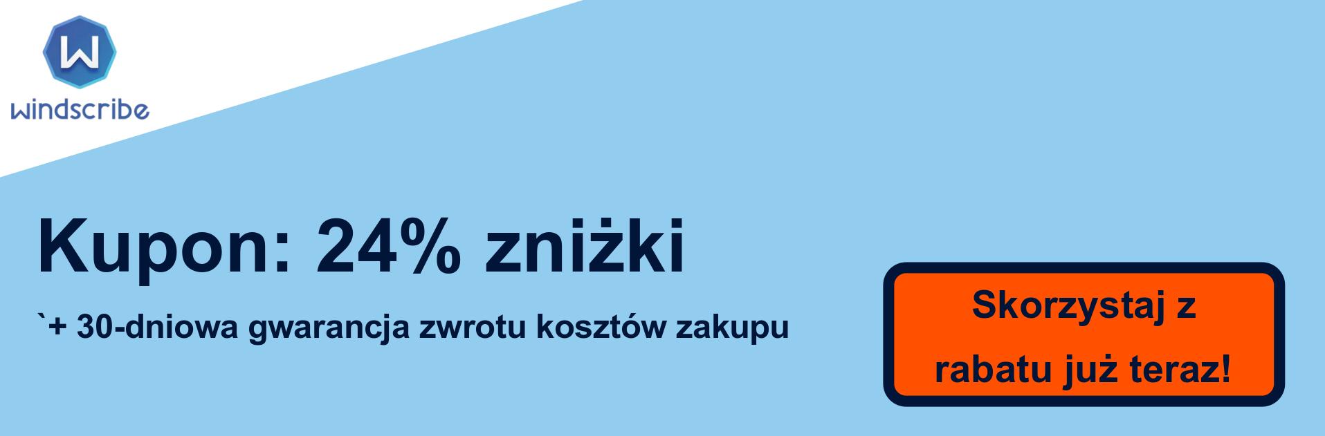 Baner kuponu WindScribe VPN - 24% zniżki