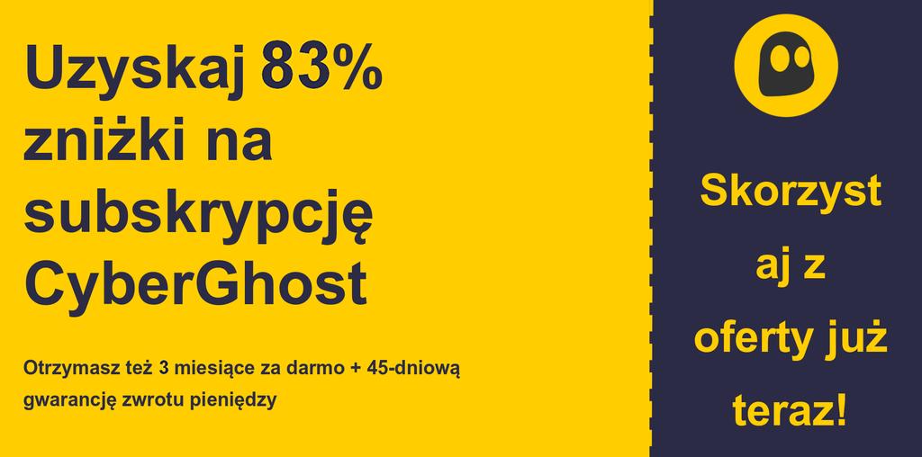 grafika banera głównego kuponu CyberGhostVPN przedstawiająca 83% zniżki