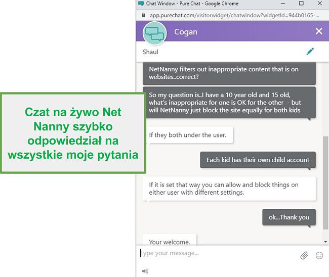 Obsługa klienta Net Nanny