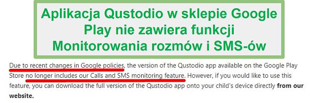 Wytyczne Qustodio Google Play