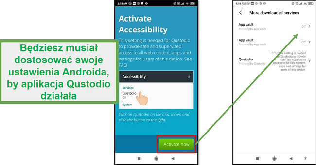 Ustawienia Qustodio Android