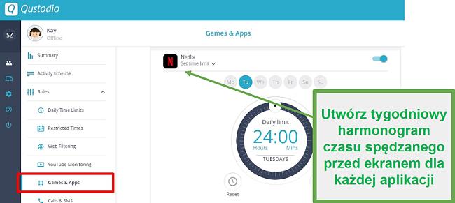 Qustodio określa limity dla aplikacji