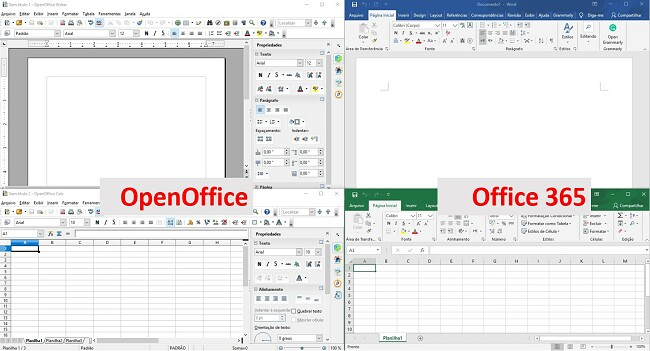 Comparando o OpenOffice e o Office365