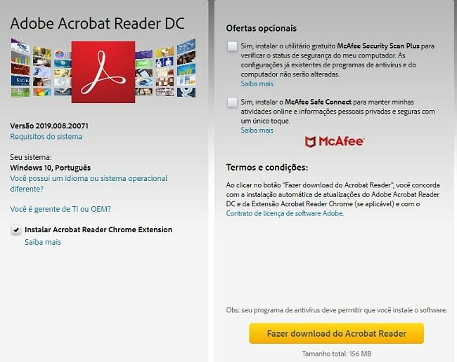Página de download do Adobe Acrobat Reader DC