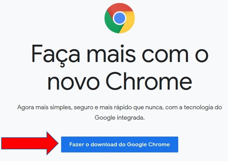 Página de download do Google Chrome
