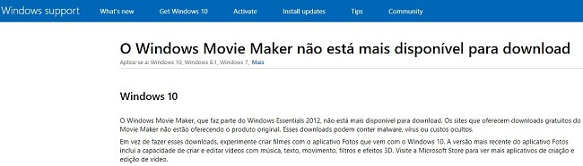 Windows Movie Maker indisponível para download