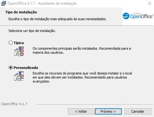 Instalação típica ou personalizada do OpenOffice