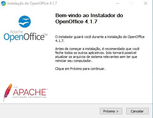 Assistente de instalação do OpenOffice 1