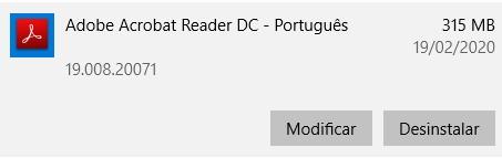Desinstalar o Adobe Acrobat Reader DC