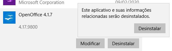 Desinstalar o OpenOffice do Windows