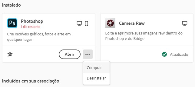 Remova o Photoshop com Creative Cloud